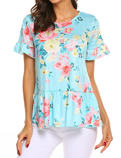 0eb32b0b Sweetnight Womens Short Sleeve Floral Print Tops Crew Neck Ruffle Hem Flare  Tunic Casual Blouse (