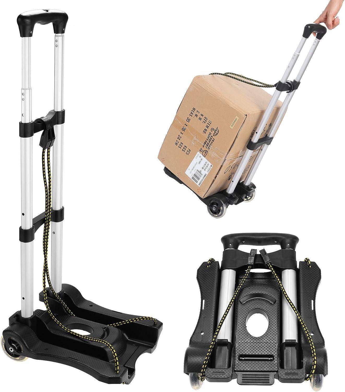 Black Aluminum Adjustable Draw-bar Folding Luggage Portable Small Cart Travel Mini Hand Truck