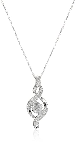 Amazon 10k white gold diamond twist pendant necklace 14 cttw amazon 10k white gold diamond twist pendant necklace 14 cttw 18 jewelry aloadofball Image collections