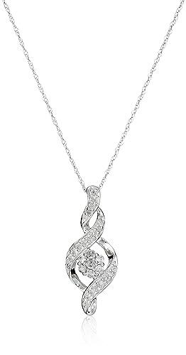 "10k Diamond Pendant Necklace, 18"""