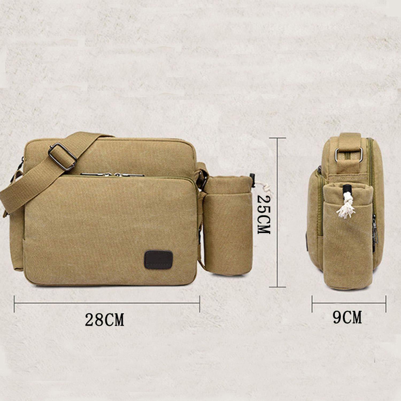 Canvas Messenger Shoulder Bag Solid Briefcases Suitcase Card Pocket for Men Women Office Outdoor Travel Bag