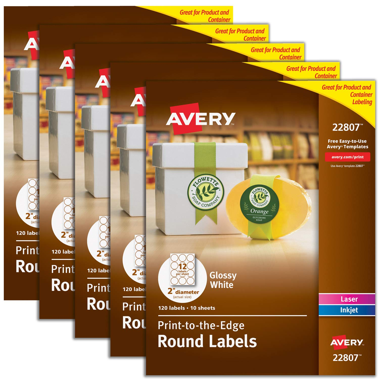 Avery 2'' Round Labels for Laser & Inkjet Printers, 600 Glossy White Labels Total, 5 Packs (22807)
