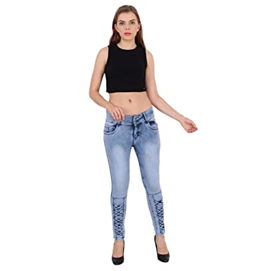 127e983425cc6 Jannon High Waist Light Blue Denim Jeans for Girls and Womens: Amazon.in:  Clothing & Accessories