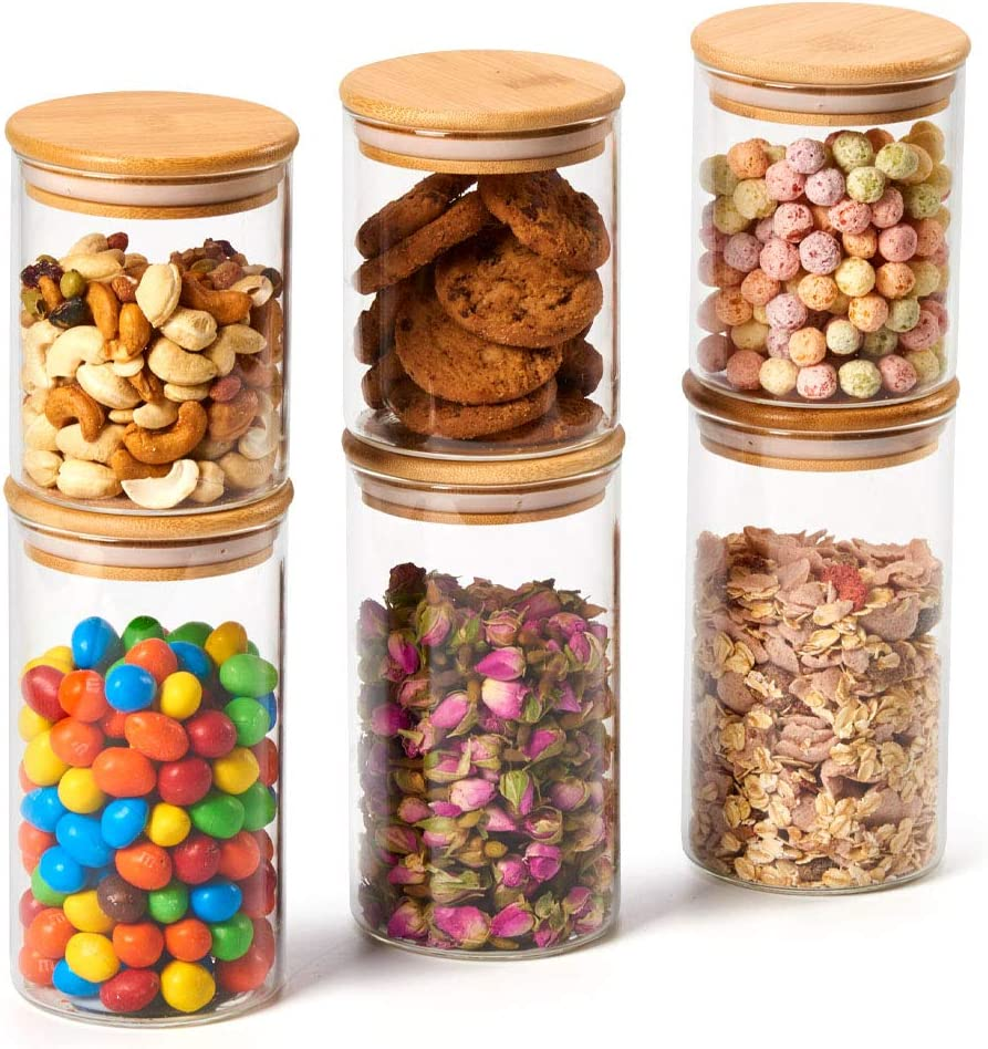 EZOWare 6 Piece Glass Jars Air Tight Canister Kitchen Food Storage Container Set with Natural Bamboo Lids for Candy, Cookie, Rice, Sugar, Flour, Pasta, Nuts - 15.2 oz / 24 oz