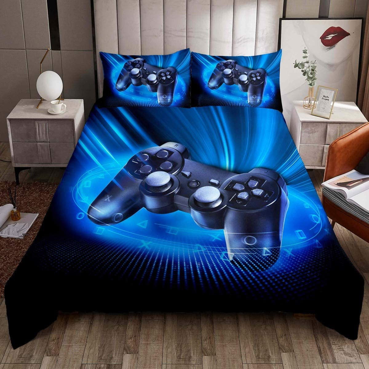 Games Comforter Cover Twin, Gamepad Bedding Set for Boys, Kids Video Games Bedding Set Teens Modern Gamer Duvet Cover Set Decorative Gaming Controller Bedding Collection with Pillowcase, Blue 2 Pcs