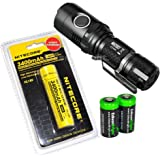 Nitecore MH20GT CREE LED 1000 Lumen 395 yards beam USB Rechargeable Flashlight, Nitecore NL189 18650 3400mAh rechargeable Li-ion battery, USB cable, Holster 2 X EdisonBright Cr123A batteries bundle