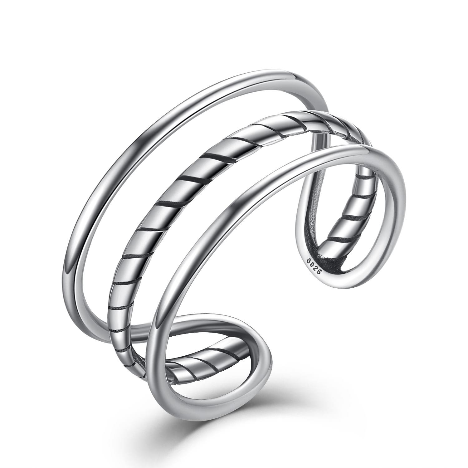 Mothers Day Gift, Fashion jewelry Simple Triple Cuff Band, Women Men Sterling Silver Open Adjustable Ring JOEMOD LO01