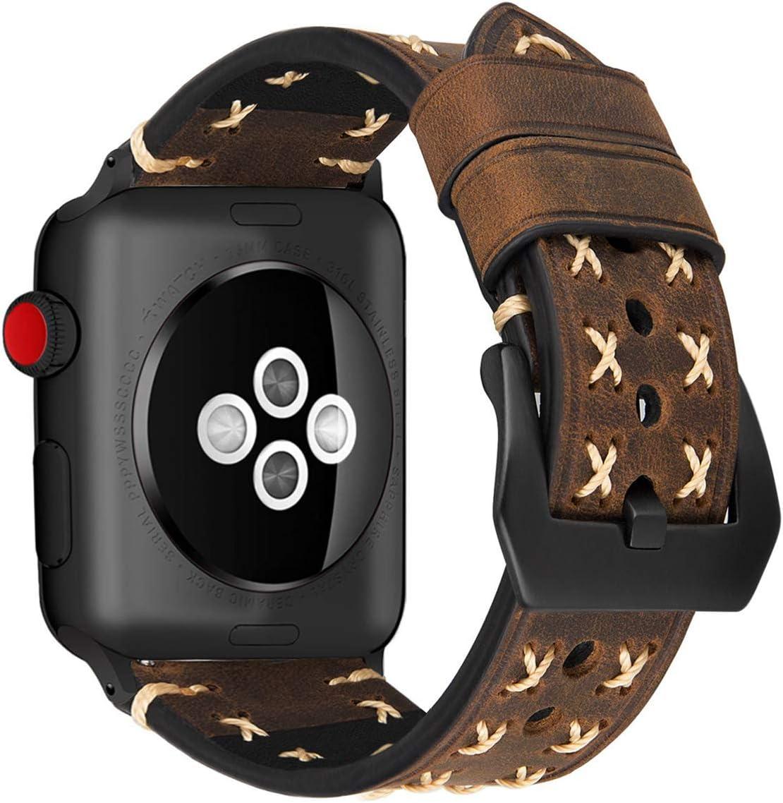 MroTech Compatible para Correa iWatch 44mm 42mm Cuero Correa de Reloj Piel Genuino Pulseras de Repuesto Banda Reemplazo para iWatch Serie 5 / 4 / 3 / 2 / 1 Watch Band (Café, 42 mm / 44 mm)
