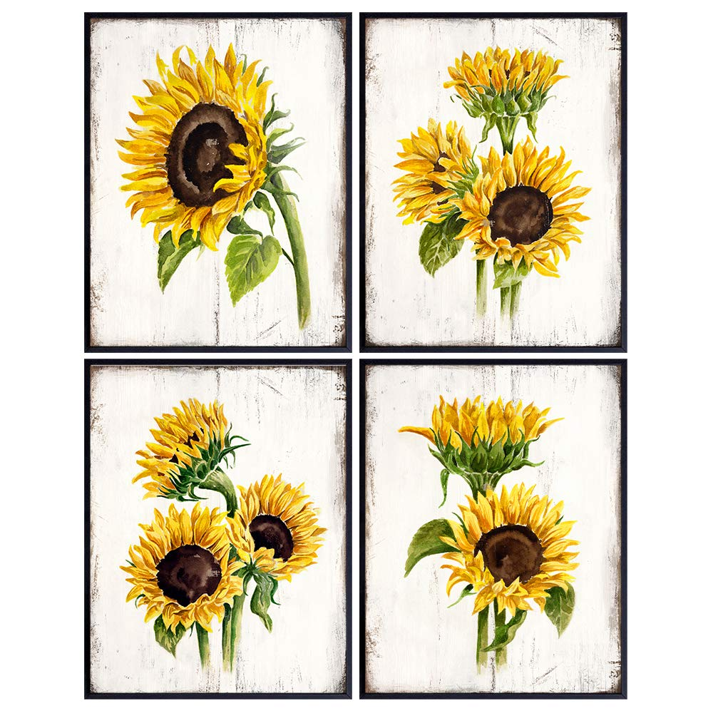 Farmhouse Sunflowers - Rustic Vintage Home Decor, Wall Art, Room Decoration for Kitchen, Dining Room, Bedroom, Bathroom, Apartment - Boho Country Housewarming Gift for Women - Yellow Green Picture Set