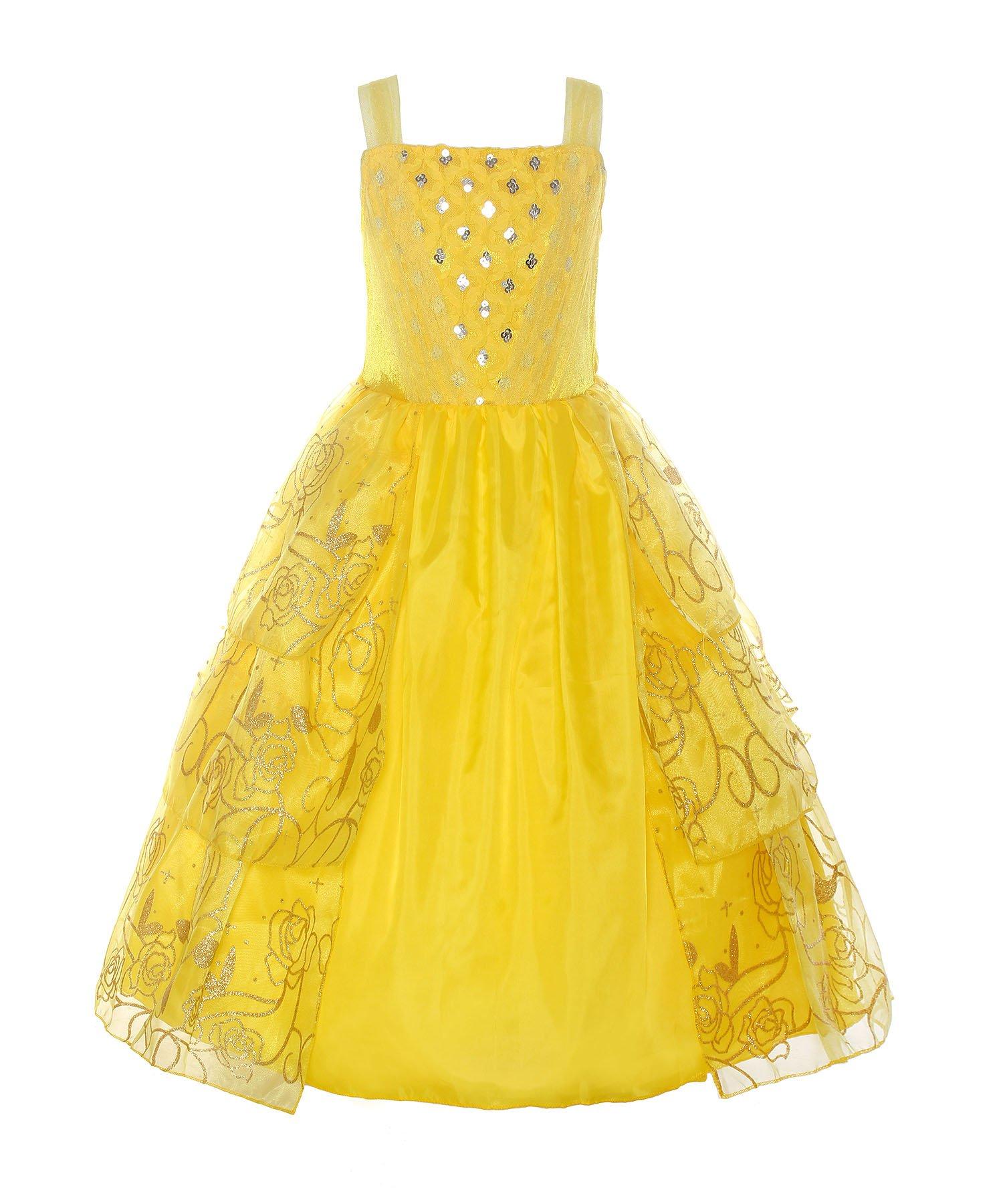 ReliBeauty Girls Sleeveless Sequin Princess Belle Costume Dress up, Yellow, 6-6X