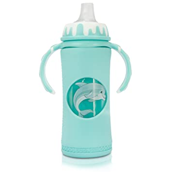 goglass glass baby bottle 10 oz blue full silicone sleeve sippy cup - Best Glass Baby Bottles