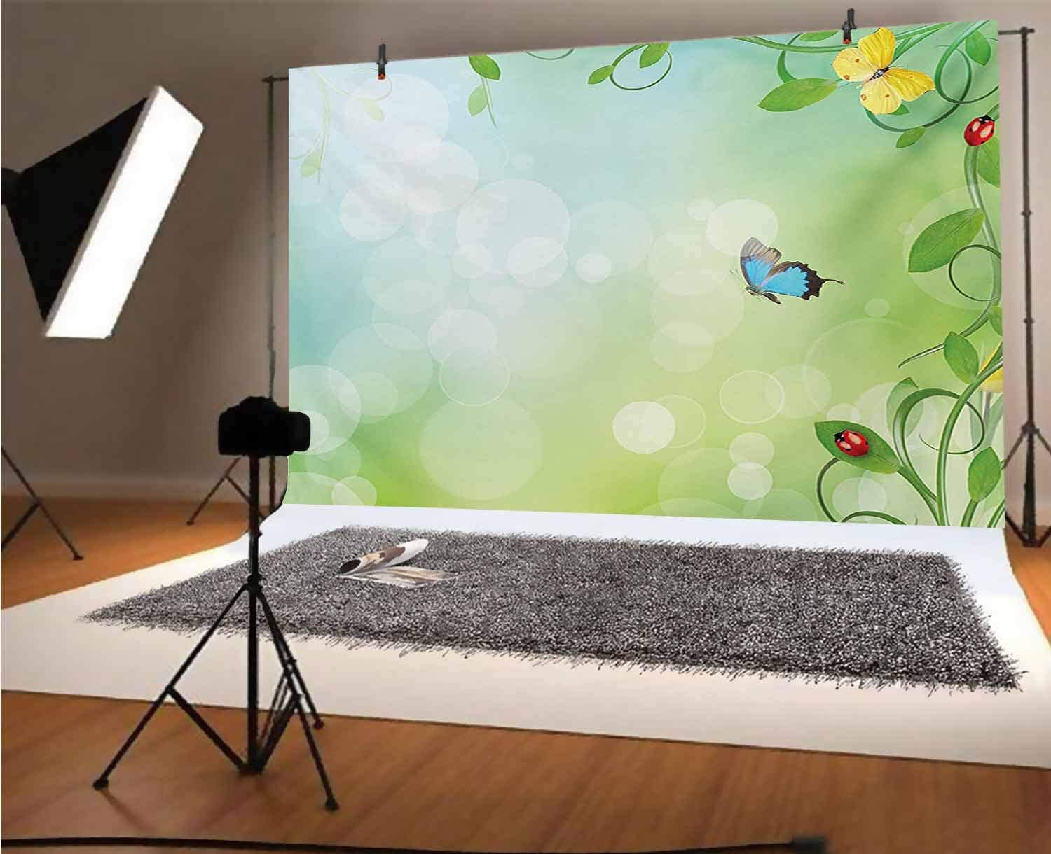 8x12 FT Ladybugs Vinyl Photography Background Backdrops,Blooming Flowers in The Field and Ladybugs Japanese Leaf Petals Nature Graphic Background for Selfie Birthday Party Pictures Photo Booth Shoot