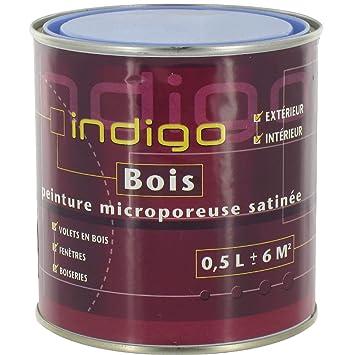 Indigo Peinture Bois Microporeuse Satinée 500 Ml Bleu Lavande