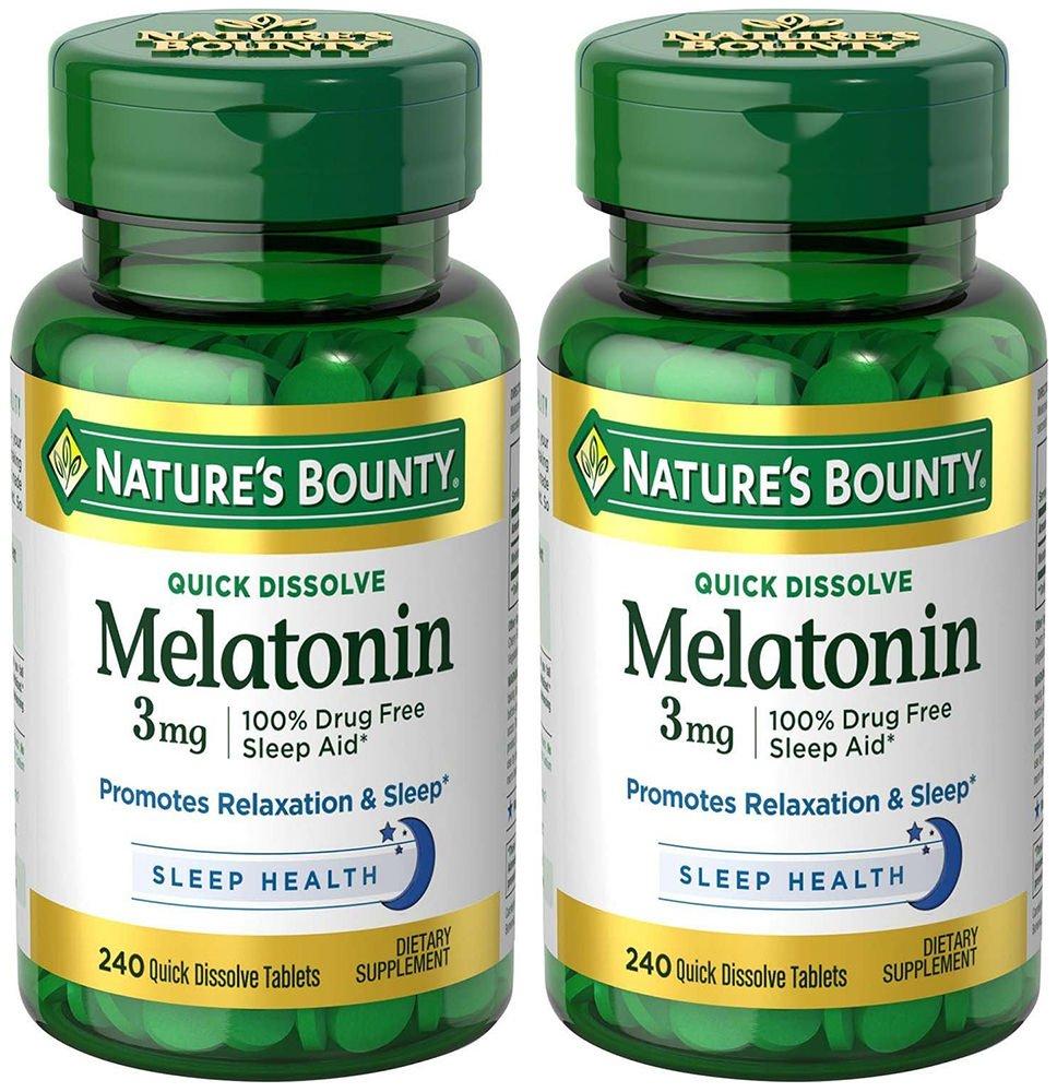 Melatonin 3 mg, 2 Bottles (240 Count)