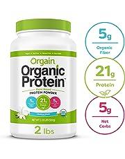 Orgain Organic Plant Based Protein Powder, Vanilla Bean - Vegan, Low Net Carbs, Non Dairy, Gluten Free, Lactose Free, No Sugar Added, Soy Free, Kosher, Non-GMO, 2.03 Pound