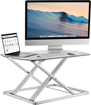 Sit Stand Desk Converter Ergonomic Height Adjustable Preassembled WHT Mount-It