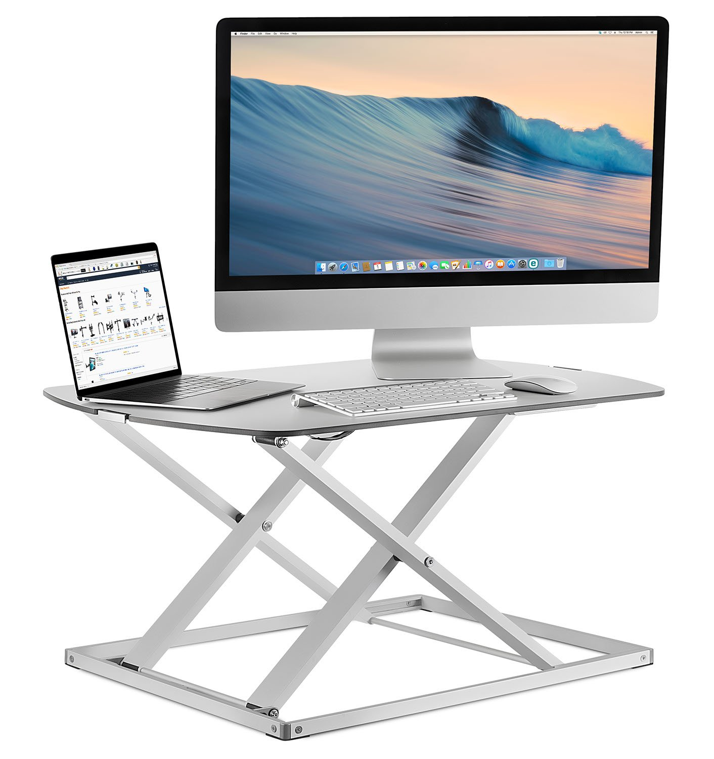 Mount-It! Standing Desk Ergonomic Height Adjustable Sit Stand Desk, 31x22 Inch Preassembled Stand-Up Desk Converter, Holds up to 22 Pounds, Large Surface MI-7928