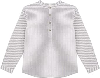 Gocco Camisa Cuello Mao Rayas Azul Shirt para Niños