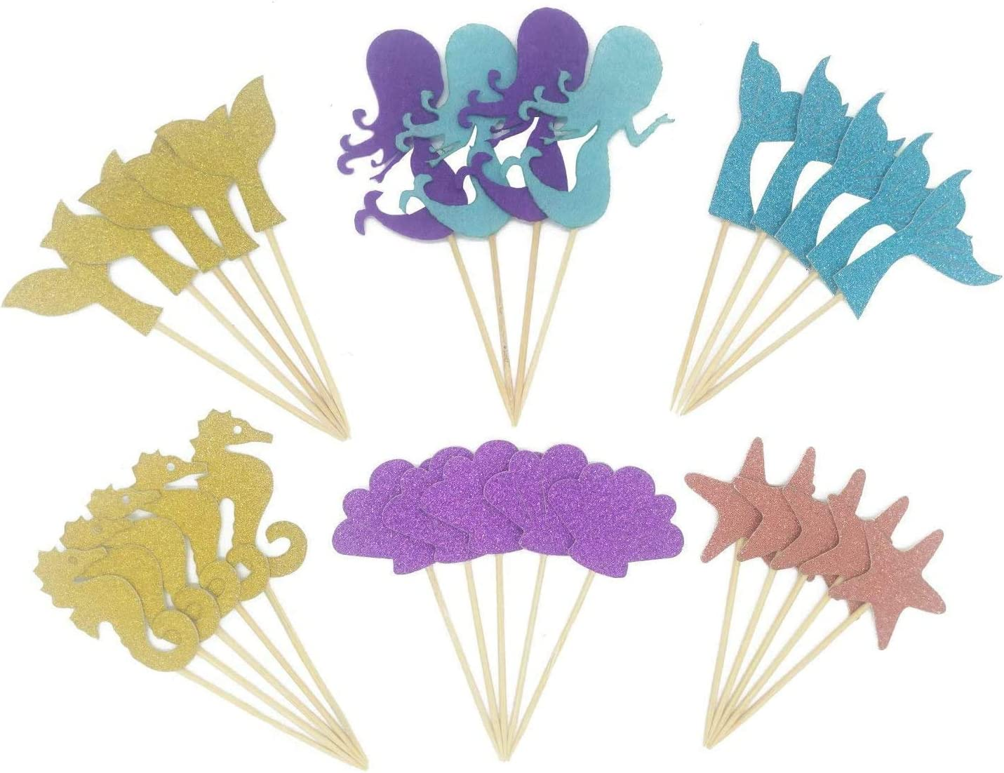 Maydolbone 29pcs glitter mermaid theme cake toppers- birthday or baby bath food picks decoration and cake party, ncluding mermaid, shell, fishtail, starfish, hippocampus