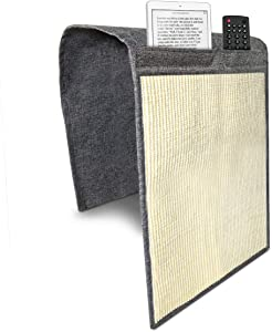 Navaris Cat Scratch Armrest Organizer - Sisal Furniture Protector Scratching Pad for Cats - Scratcher Mat Cover for Sofa Couch Armchair - Dark Gray