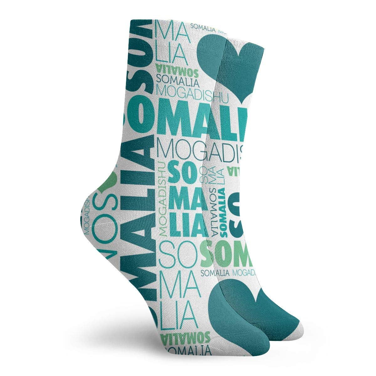 Women Men I Love Somalia Mogadishu Pattern Athletic Crew Socks