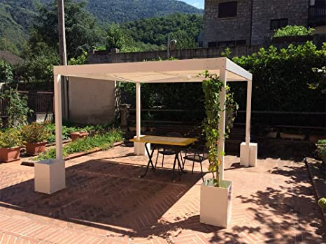 QEEQ.IT - Cenador de 4 x 3, Estructura de Antracita y Tela de Color Beige, pérgola de Aluminio: Amazon.es: Jardín