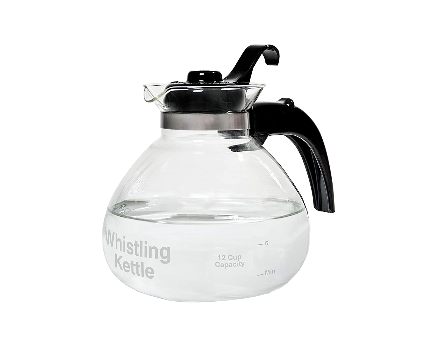 CAF BREW COLLECTION WK112 Glass Cafe Brew 12 Cup Stovetop Whistling Kettle, c