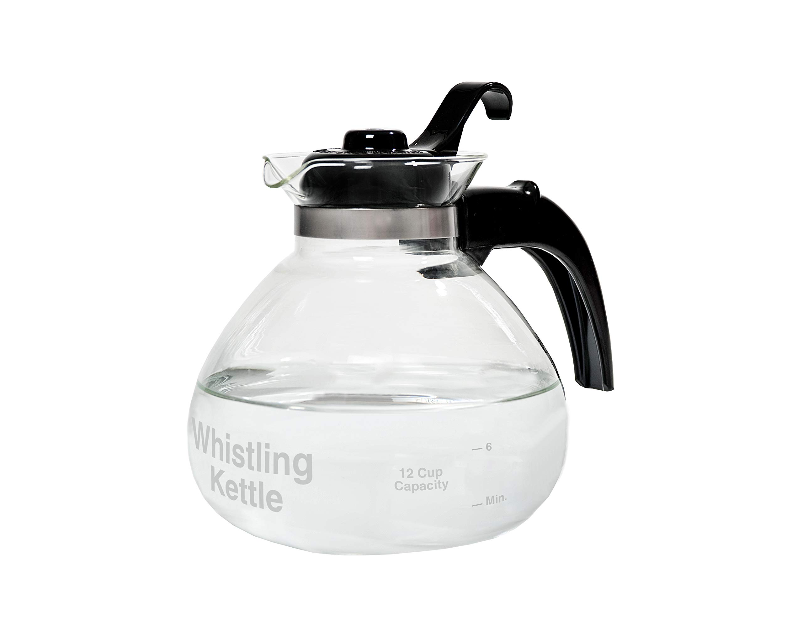 CAFÉ BREW COLLECTION WK112 Cafe Brew 12 cup Glass Stovetop Whistling Kettle, c by CAFÉ BREW COLLECTION