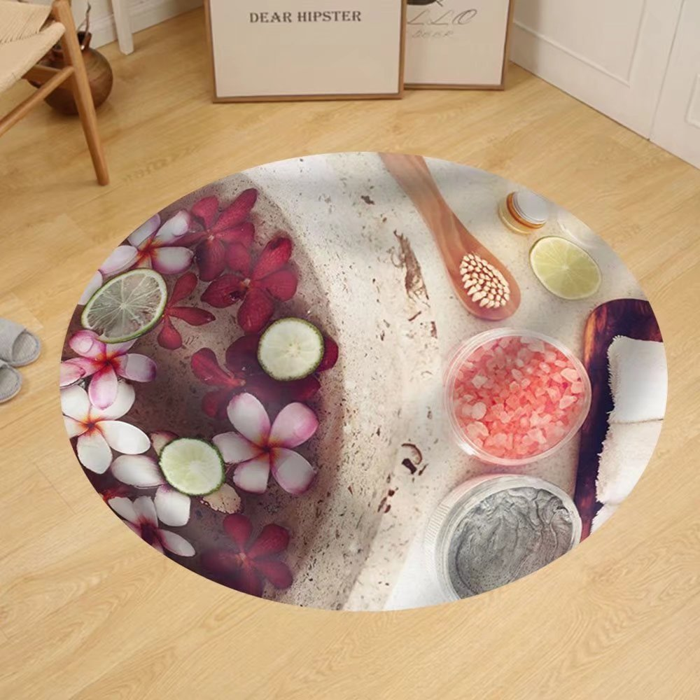 Gzhihine Custom round floor mat Foot bath in bowl with lime and tropical flowers spa pedicure treatment top view