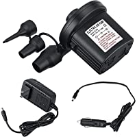 Electric Air Pump 110V AC/12V DC 2 Way Quick-Fill Air Beds Pump Attachments with 3 Nozzles for Inflatables Air Bed…