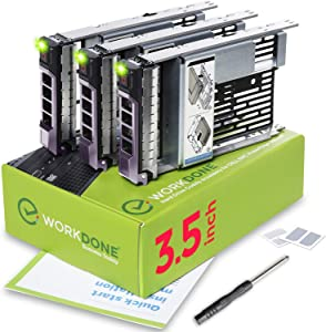 WorkDone 3-Pack - 3.5 inch Hard Drive Caddy with 2.5 inch HDD Adapter - KG1CH Compatible for Listed Dell PowerEdge Servers - Manual - Sled Front Sticker Labels - Screwdriver - Added HDD Tray Screws