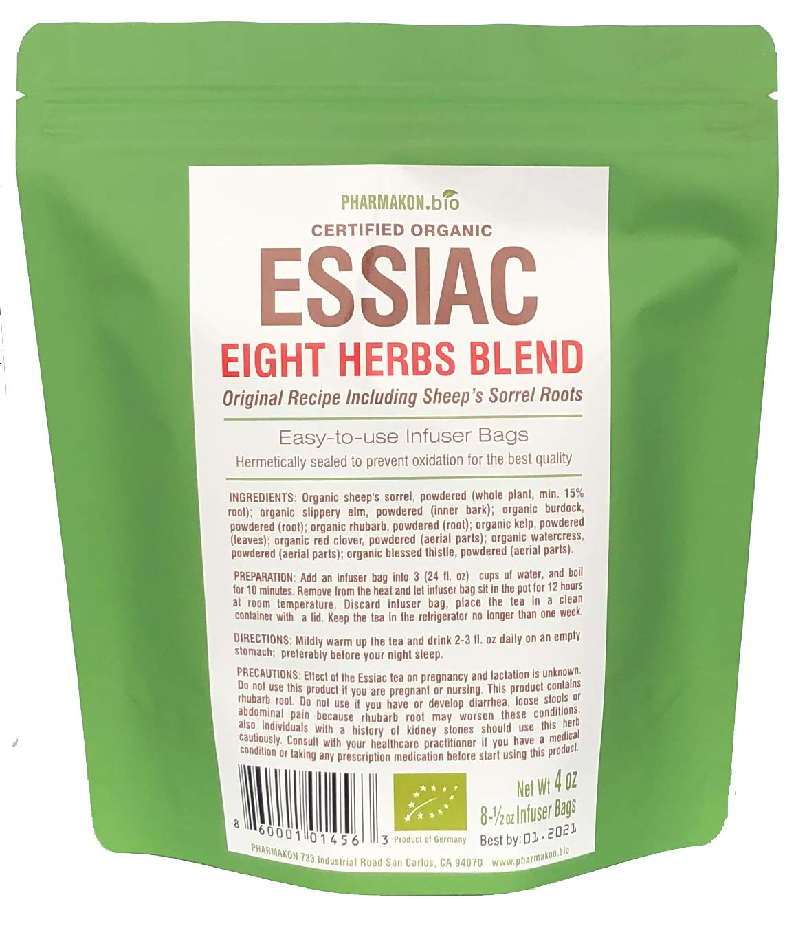 Organic Essiac Tea Infuser Bags. 8 Herbs Recipe Including Sheep Sorrel Roots. Easy To Use Infuser Bags, Approx 8 Weeks Supply (8 Infuser bags). by PHARMAKON