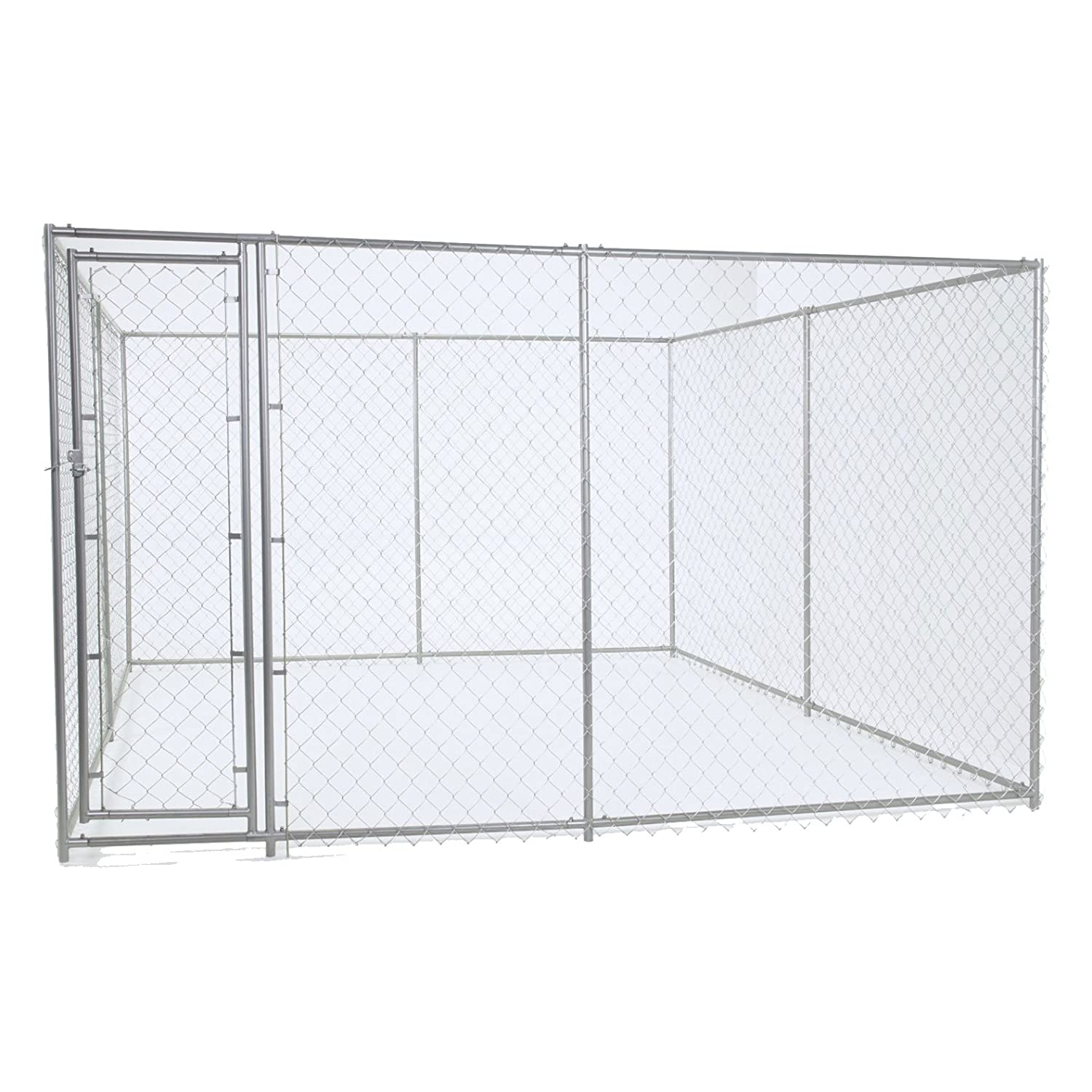 6 x 5 x 15' 10 x 10\ Chain Link Dog Kennel ‰ÛÒ Lucky Dog Outdoor Heavy Duty Pet Kennel ‰ÛÒ This Pet Cage System is Perfect For Containing Larger Dogs and Small Animals. Galvanized chain link doesn't kink or tangle.