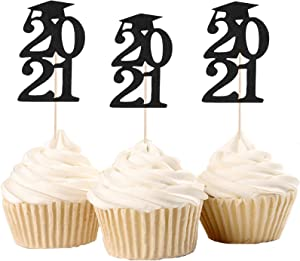 Graduation Cupcake Toppers, Grad Cap 2021 Cupcake Toppers Black Glitter Food Picks Cake Decoration for Class of 2021 Graduation Party Decorations Supplies 30 Pack