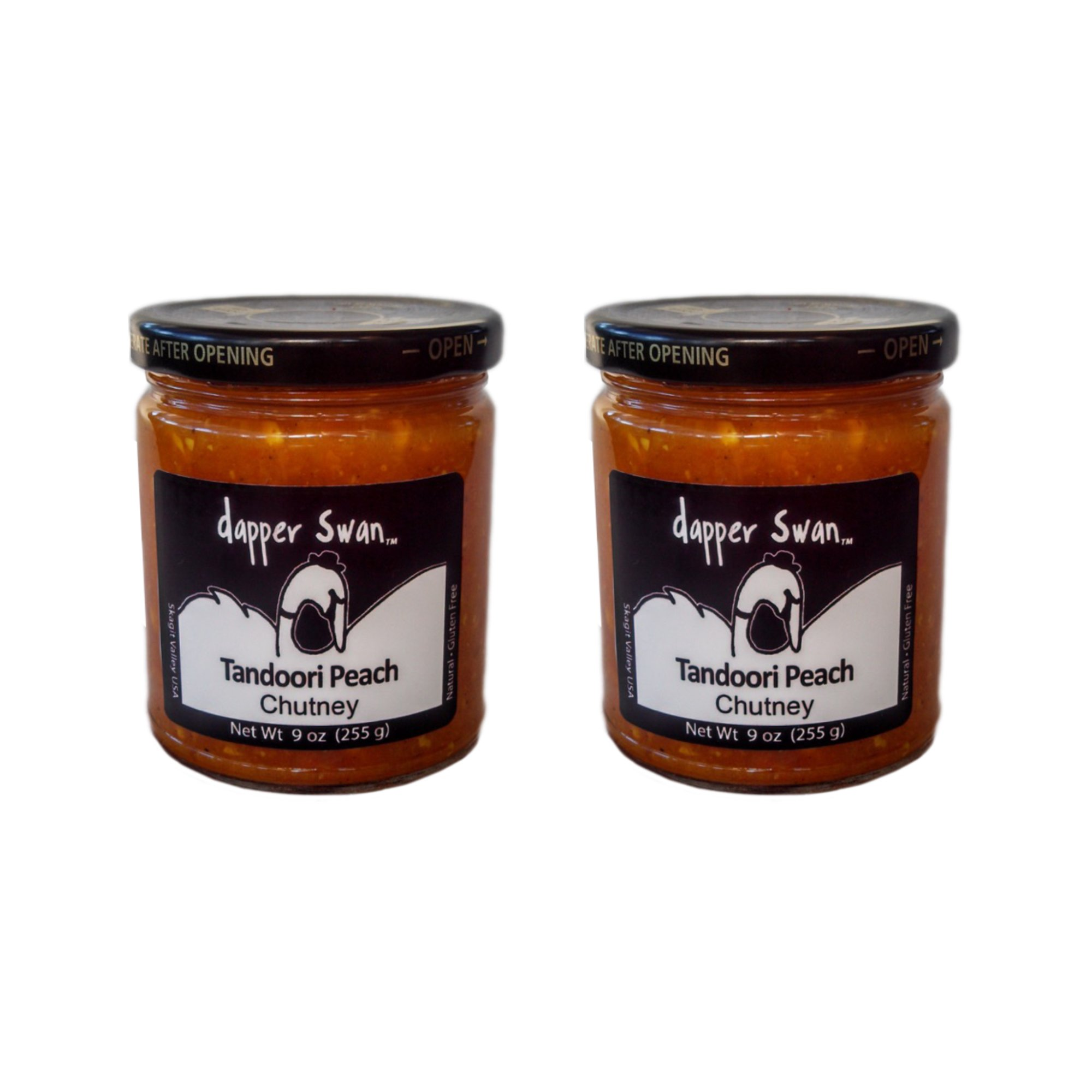 Tandoori Peach Artisan Gourmet Chutney, Two 9-oz Jars - All Natural, GF, Vegan, No Fat, Made in USA