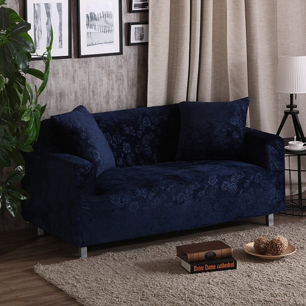 DSAQAO Thicken velvet sofa protector 1 2 3 4 seater All inclusive Sofa cover A 4seater Pure color Elastic Non-slip Couch slipcover