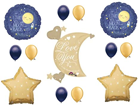 Amazon xl love you to moon and back navy gold birthday baby