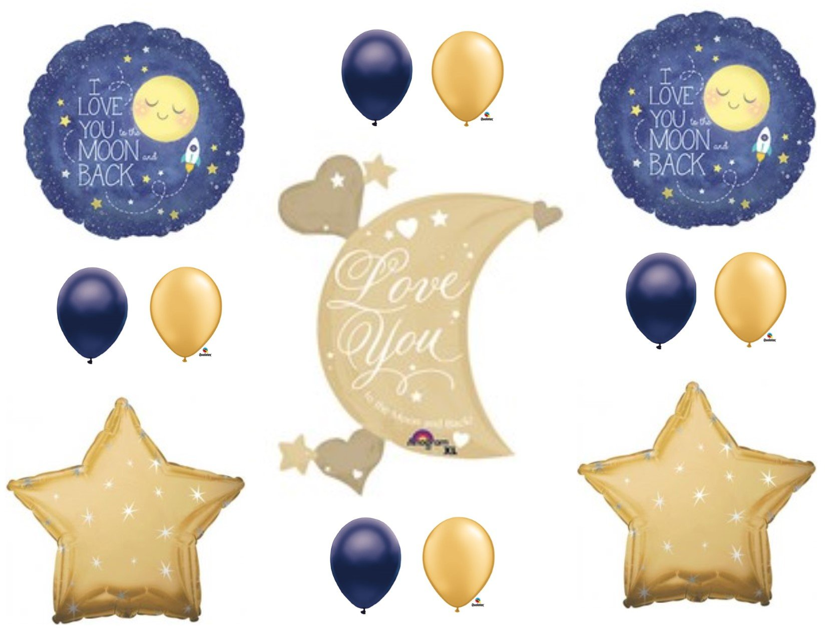XL LOVE YOU TO MOON AND BACK Navy & Gold Birthday Baby Shower Balloons Decorations