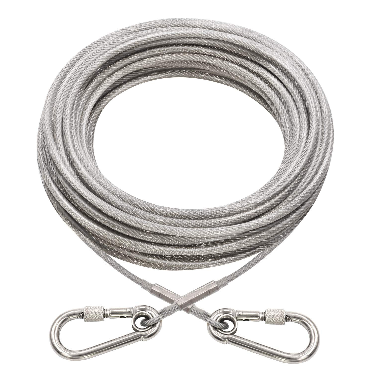 XiaZ Dog Runner Tie Out Cable for Dogs Up to 60/250 Pound, 10ft 20ft 30ft 40ft 50ft 70ft 100ft Dog Lead Line for Yard, Camping, Park, Outside