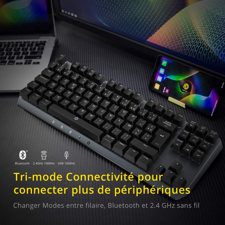 DREVO BladeMaster PRO 88K TKL Clavier de Jeu M/écanique Azerty FR Layout 2.4G sans Fil// Bluetooth 4.0// USB Filaire Cherry MX RGB Speed Silver Switch 35 PBT Touches