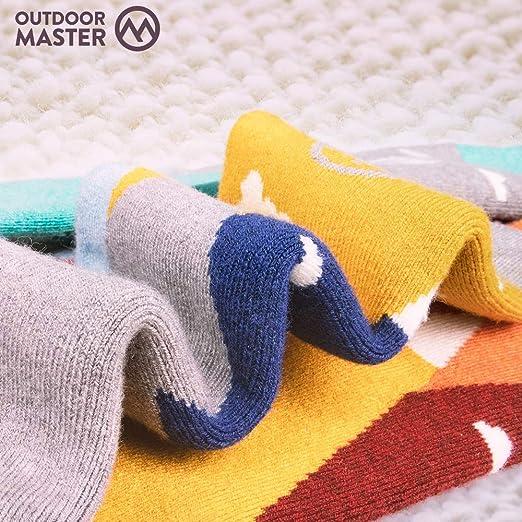 OTC Design w//Non-Slip Cuff OutdoorMaster Kids Ski Socks Merino Wool Blend