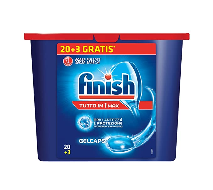 Finish Tutto in Uno - Cápsulas de Gel para Lavavajillas 20+3 ...