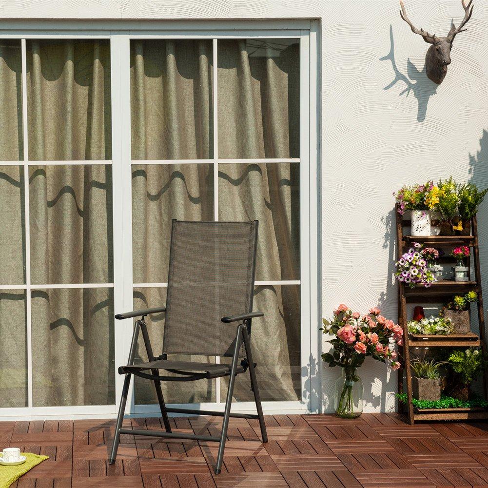 Grand Patio Conjunto de 2 sillas Plegables, Ajustables, Impermeables y Resistentes al Sol, para Jardín, terraza, Patio, Multi-Posición, Gris Carbón: ...