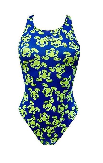 Turbo Sport de bañador Ranitas (Wide Strap) Ranas Neon Azul Verde Triathlon Nadar,