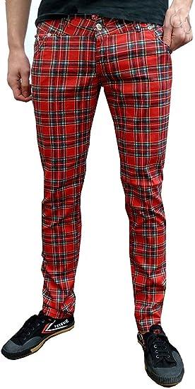New Red Black /& White Slim Skinny Stretch Tartan Plaid Trousers Check Pants