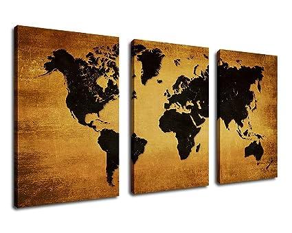 Amazon.com: yearainn Wall Art Canvas Prints Grunge World Map Print ...