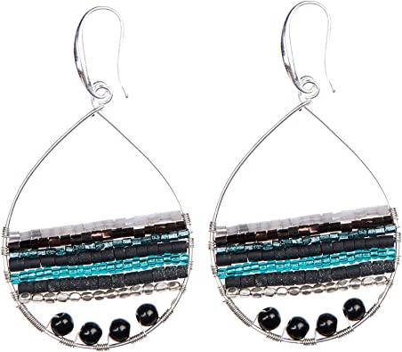 Boho Teardrop Earrings Multi-Color Silver Gold Hoop Earings - Bohemian Jewelry for Women by Akitai