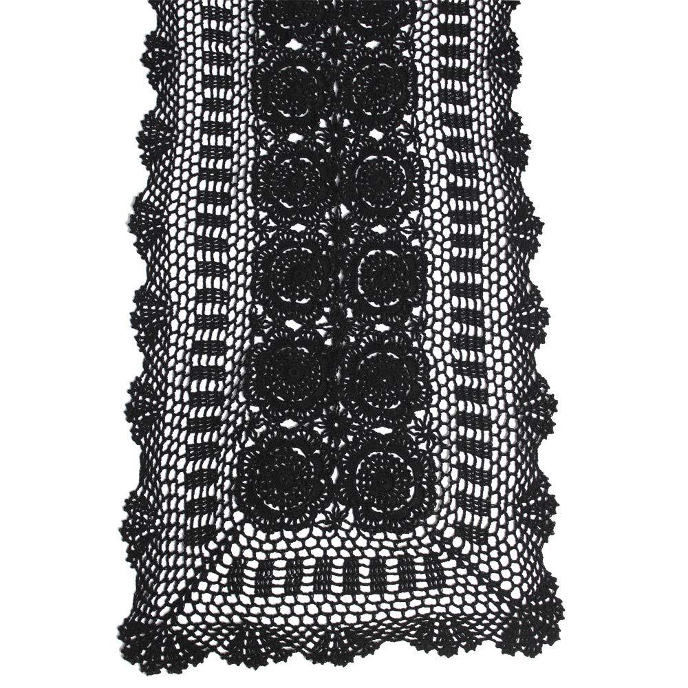 KEPSWET コットン ハンドメイド かぎ針編み レース テーブルランナー ベージュ 長方形 コーヒー テーブル ドレッサー装飾 14