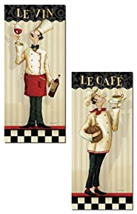 Gango Home Décor French Le Vin and Le Cafe Chef Panel Prints by Lisa Audit; Kitchen Decor; Two 8x18in Paper Poster