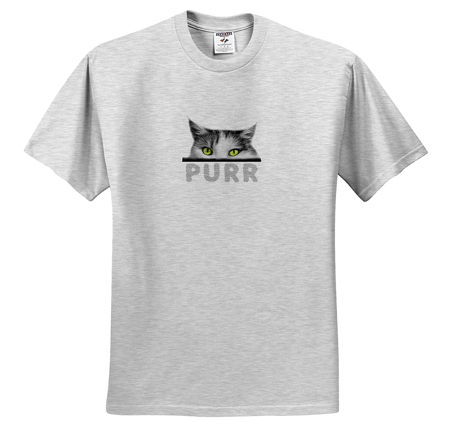 ts/_320854 Cat Eyes Purr Purr Adult T-Shirt XL Magnificent Green Eyed cat Funny Positive Gift 3dRose Alexis Design